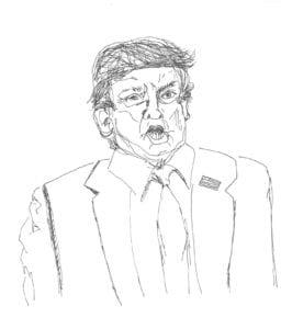 Elev på Grundtvigs Højskole har lavet en tegning af Trump efter foredrag med Mads Fuglede